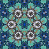 Ornamental blue and green flowers centered mosaic seamless pattern. Ornamental traditional style bold blue and green colorful big centered six flowers shape Stock Image