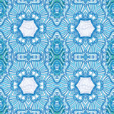 Ornamental blue mandala pattern. Blue seamless vector background. Ornamental endless pattern stock illustration