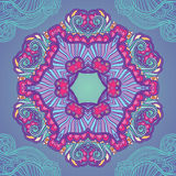 Ornamental blue and violet mandala. Floral mandala background. Ornamental bright card stock illustration