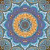 Ornamental blue-yellow round background Royalty Free Stock Images