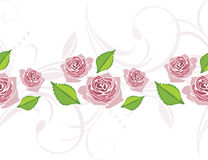 Ornamental border with blooming stylized pink roses Stock Images