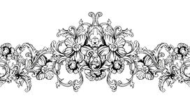 Ornamental border, frame. Baroque pattern. Vector seamless. Royalty Free Stock Photo