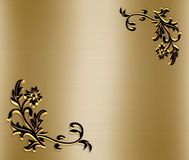 Ornamental Border on Gold Satin 3D. Illustration for ornamental frame, background, border or invitation with copy space Royalty Free Stock Photo