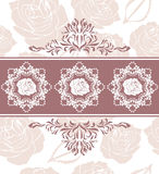 Ornamental border with roses on the seamless floral background Stock Photography