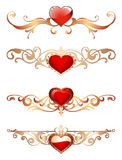 Ornamental borders with hearts Romantic red hearts with floral ornaments golden lace borders and frames. Ornamental borders with hearts Royalty Free Stock Images