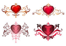 Ornamental borders with hearts Romantic red hearts with floral ornaments golden lace borders and frames. Beautiful royal hearts. Ornamental borders with hearts Royalty Free Stock Photos