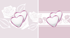 Ornamental borders with hearts and stylized roses Royalty Free Stock Photography