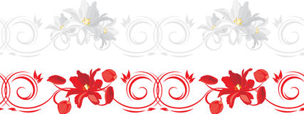 Ornamental borders with red and white tulips Royalty Free Stock Photography