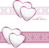 Ornamental borders with shining hearts Royalty Free Stock Photos