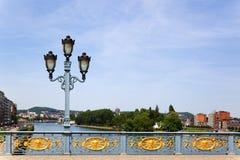 Ornamental bridge railing in Liege Stock Photos