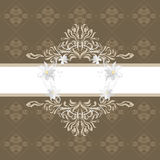 Ornamental brown background with stylized white flowers. Illustration Vector Illustration