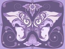 Ornamental butterfly. Butterfly shaped  violet decorative pattern Royalty Free Stock Photos