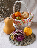 Ornamental cabbage and pumpkins Stock Photography