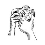 Ornamental camera. Hand drawing illustration. Royalty Free Stock Image