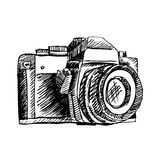 Ornamental camera. Hand drawing illustration. Stock Photo