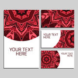 Ornamental cards. Set of cards with red mandala vintage ornament Stock Photos