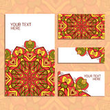 Ornamental cards. Set of cards with vintage decorative circular ornament Royalty Free Stock Photography