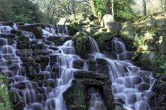 The ornamental Cascade waterfall in Virginia Water, Surrey, UK. The ornamental Cascade waterfall in Virginia Water, Surrey, United Kingdom Royalty Free Stock Photography