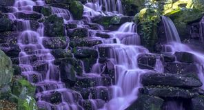 The ornamental Cascade waterfall with purple water in Virginia Water, Surrey, UK. The ornamental Cascade waterfall in Virginia Water, Surrey, United Kingdom Royalty Free Stock Photography
