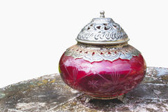 Ornamental Cerise And Silver Bown With Lid Royalty Free Stock Photography