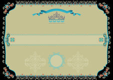 Ornamental certificate with black border Royalty Free Stock Image