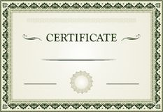 Ornamental certificate border and template Stock Photos