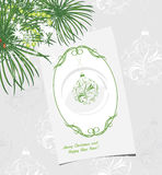 Ornamental Christmas background with greeting card Stock Photo