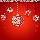 Christmas balls background. Ornamental Christmas balls with paper swirls, decorative background Royalty Free Stock Image