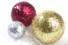 Ornamental Christmas balls on snow Stock Photo