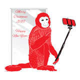 Ornamental  Christmas monkey with selfie. Vector illustration of ornamental  Christmas monkey with selfie Stock Photography