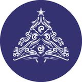 Ornamental Christmas spruce. Icon for design or logo Royalty Free Stock Photo