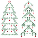 Ornamental Christmas tree. Christmas tree with red balls Royalty Free Stock Photos