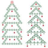 Ornamental Christmas tree. Christmas tree with red balls vector illustration