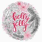 Ornamental Christmas wreath. Christmas card with floral elements and hand drawn lettering. Beautiful vector greeting card for Christmas with mistletoe, flowers Stock Photo