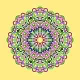 Ornamental circle mandala. On yellow background Royalty Free Stock Photography