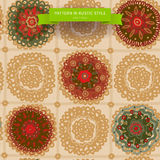 Ornamental circle pattern in folk style, looks like crochet handmade rug, seamless texture. Royalty Free Stock Photo