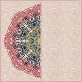 Ornamental circle template with floral background Stock Images