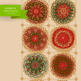 Ornamental circles border in folk style. Stock Photos