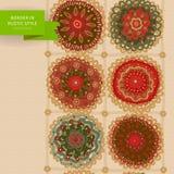 Ornamental circles border in folk style. Stock Photos