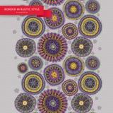 Ornamental circles border in folk style. Royalty Free Stock Image