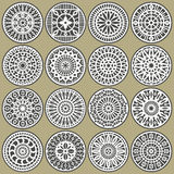 Ornamental circles decors. A set of ornamental circles stencils with natural and geometric elements Stock Images