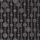 Ornamental circles on lines  seamless pattern black Stock Photography