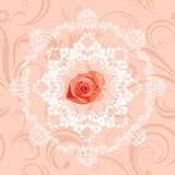 Ornamental circular element with rose on the seamless floral background Royalty Free Stock Image