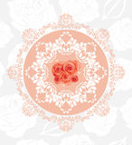 Ornamental circular element with roses on the seamless floral background Stock Photos