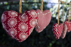 Ornamental cloth hearts Royalty Free Stock Image