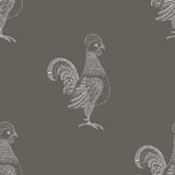 Ornamental Cockerel background. Vector seamless Royalty Free Stock Photography
