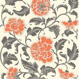 Ornamental colored antique floral pattern. stock illustration
