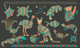 Australian stylized animals set on dark background. Ornamental colorful animal collection in special style for your design Royalty Free Stock Photos