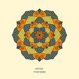 Ornamental colorful floral mandala,  hand drawn geometric patter. N in oriental style. Blue, yellow, orange colors. Indian, asian, arabic, islamic, ottoman Stock Photo