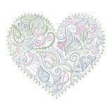 Ornamental colorful heart on white background Royalty Free Stock Images